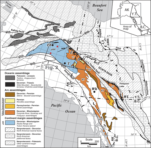 Paleozoic tectonic assemblages of the northern Cordillera (modified from Dusel-Bacon et al., 2006, 2015; Nelson et al., 2006). Map abbreviations for lithotectonic terranes and assemblages: pNA—parautochthonous North America; YT—Yukon-Tanana terrane; YTs—southeast Alaska subterrane of the Yukon-Tanana terrane. Place abbreviations: AK—Alaska; B.C.—British Columbia; D—Dawson; E—Eagle; Fb—Fairbanks; NWT—Northwest Territories; Wh—Whitehorse; WL—Watson Lake; T—Tok; Y.T.—Yukon Territory. Unpatterned areas within the Cordillera are undivided accreted terranes. Legend: gray polygon shows the location of Figure 2. Red stars show location of our detrital zircon samples. Location of Figure 1 is shown in inset.