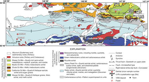 Geologic map of the northern Healy quadrangle showing location of detrital zircon samples. Geology is from Wahrhaftig (1968) and Gilbert and Bundtzen (1979). U-Pb ages of igneous rocks are from Dusel-Bacon et al. (2004, 2012), and conodont fossil location is from Csejtey et al. (1992). Abbreviations: Mbr—member; Ck—creek; Fm—formation; VMS—volcanogenic massive sulfide.