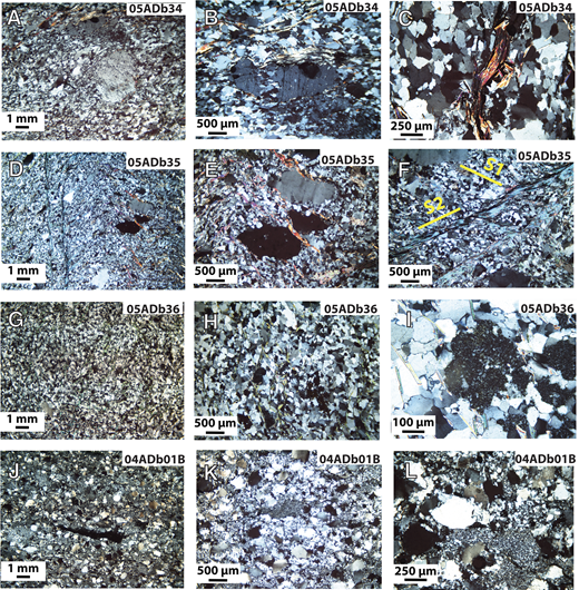 Photomicrographs of quartzites from the Healy quadrangle that were sampled for detrital zircon. Locations of the sample field number (in upper right of each photomicrograph) are shown in Figure 3. All images were taken in transmitted, cross-polarized light. (A–I) Quartzite from Healy schist showing weakly developed metamorphic fabric defined by oriented matrix grains of finely recrystallized quartz and white mica and, in some photos, by sparse, elongate clasts of K-feldspar (dark gray). (C) An elongate grain of white mica (red interference color) rimmed by black iron oxide of unknown detrital or recrystallized matrix origin. (E) Quartz clasts (gray and black) aligned in the foliation plane. (F) Spaced cleavage (S2) defined by white mica that crosscuts an earlier, less-well-defined fabric (S1). (H) Weakly defined foliation imparted by discontinuous wispy grains of sericite. (I) Dark speckled grain of an iron-bearing alteration product of plagioclase in center of photomicrograph. (J–L) Quartzite from Keevy Peak Formation showing a mixture of both monocrystalline and polycrystalline quartz grains and sparse, elongate, finer grained clasts.
