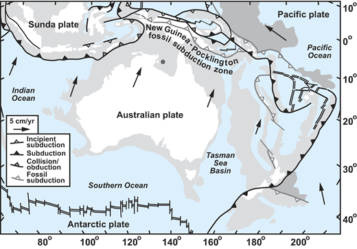 Plate tectonic map of the central and eastern part of the Australian plate, showing the present-day plate boundaries and velocities (in cm/yr), as well as the fossil New Guinea–Pocklington subduction zone. The velocities are based on the relative plate motion model of DeMets et al. (1994) using the Indo-Atlantic moving hotspot reference frame from O'Neill et al. (2005).
