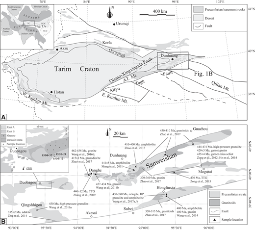 (A) Simplified sketch of the Tarim craton and adjacent areas (modified after Lu et al., 2008) showing the tectonic framework. Inset shows a simplified map of the Central Asian Orogenic Belt (modified after Xiao et al., 2010). Mt—mountains; AT—Altyn Tagh. (B) Simplified map of the Dunhuang block showing locations of the Paleozoic magmatic and metamorphic rocks. Inset is the geologic map of the Duobagou area in the Dunhuang block (modified after the 1:200,000 scale geological map of Duobagou). TTG—tonalite-trondhjemite-granodiorite.