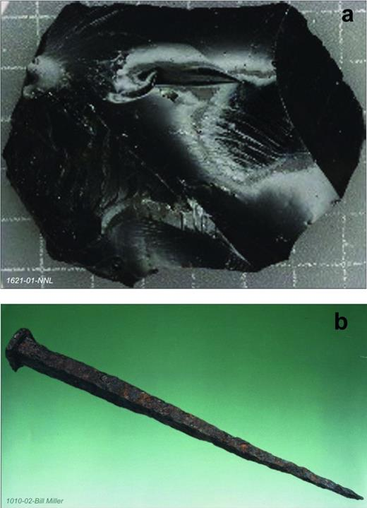Examples of materials that have been used in laboratory-based experiments and analogues studies to increase confidence in the understanding of long-term evolution processes; (a) sample of HLW glass simulant, courtesy of National Nuclear Laboratory; (b) Roman iron nail (almost 2000 years old), courtesy of Bill Miller.