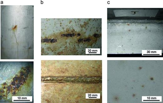 Examples of areas of corrosion found on 4 m box. (a) Embedded iron (top), higher magnification of same area (bottom); (b) areas of corrosion on base of 4 m box; (c) superficial pits on 4 m box ledge.