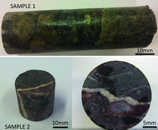 The drill core samples showing sample 1 as a fragmental pyroclastic rock made of polygenetic igneous clasts, and sample 2 as a fine-grained rock cut by a white calcite vein and a zoned red iron oxide phase.