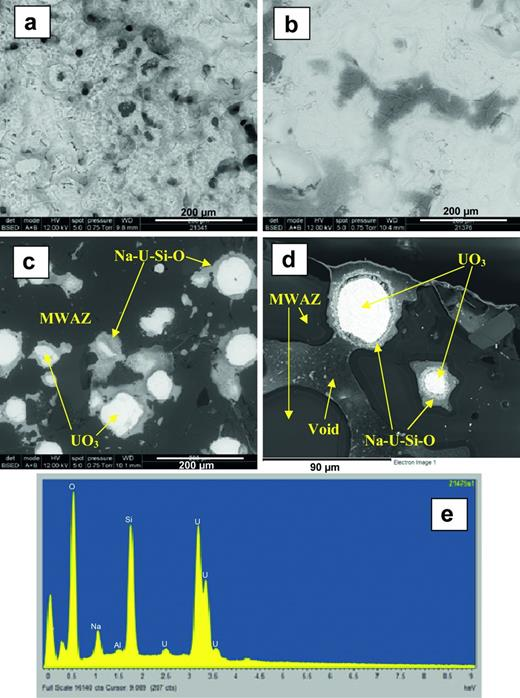 Scanning electron microscopy (SEM) backscattered-electron images of the 28 day leached 50:50 UO3:MWAZ (550°C glass melting temperature) glass; (a) top surface, (b) cut surface, (c) mounted cross-section, (d) mounted cross-section at edge of sample and (e) energy-dispersive spectroscopy (EDS) trace representative of the white phase on the sample surface and of the alteration phase surrounding the UO3 particles.
