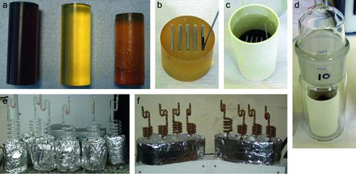 Experimental set up, showing (a) the candidate encapsulants cast into cylinders; (b) individual pucks machined from the cylinder with slots and steel samples placed into the slots to simulate crevices; (c) pucks transferred into zirconia crucibles and filled with test solution; (d) crucibles transferred into glass cells. The individual glass cells transferred into either (e) an oil bath (non-irradiated), or (f) a heater block (γ-irradiated).