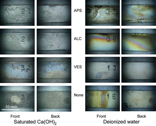 The 316L corrosion coupons after 18 months γ-irradiation (10 Gy h−1) at 80°C in saturated Ca(OH)2 (left side) and initially DI water (right side).