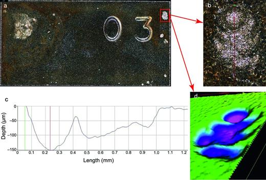 An example of pitting corrosion experienced by 316L encapsulated in APS and immersed for 18 months in initially DI water in the presence of γ-radiation (10 Gy h−1) at 80°C, (a) optical image of the front side of the whole coupon; (b) enlarged optical image showing the deepest pit; (c) surface profile across the width (as indicated in image (b) of the pit; (d) the same pit area in 3D.