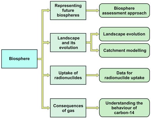 Structure of the NDA RWMD biosphere research and development programme.