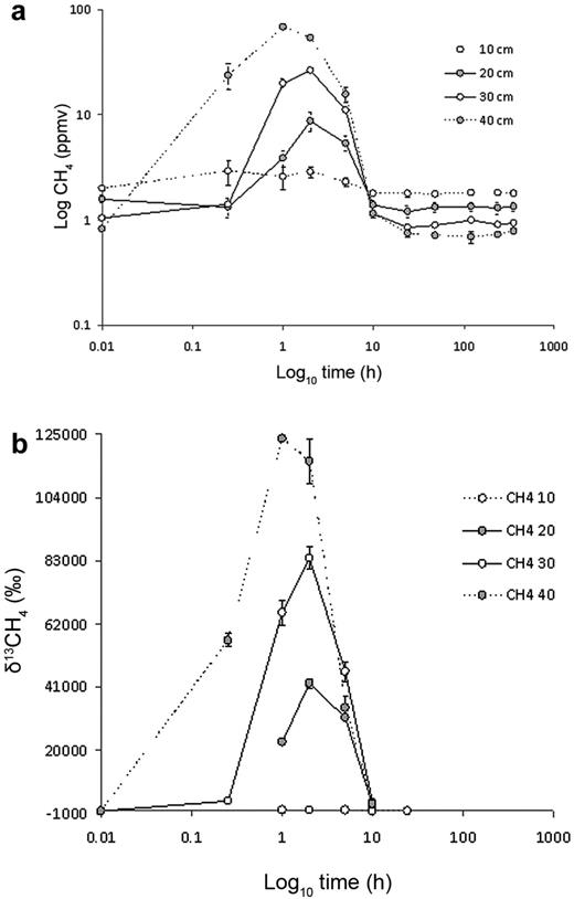 (a) Bulk methane and (b) δ13CH4 in soil gas samples from re-packed soil columns (experiment 1).
