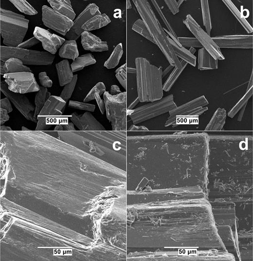 Photomicrographs of (a) tremolite A and (b) tremolite B prior to the dissolution experiments, and of (c) tremolite B following its dissolution in experimental series B2-f and (d) tremolite A following its dissolution in experimental series A-a.
