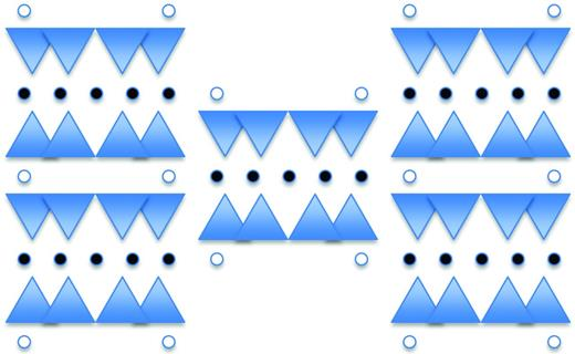 Schematic drawing showing a projection of the tremolite structure down the c axis (after Bozhilov and Jenkins, 2007). The structure consists of blue Si–O tetrahedral units in double chains oriented parallel to the a and b axes. These chains are bound together in talc-like strips by 6-coordinated Mg atoms, shown as black circles. These talc-like strips are then bound in tremolite by 8-coordinated Ca atoms shown as open circles.