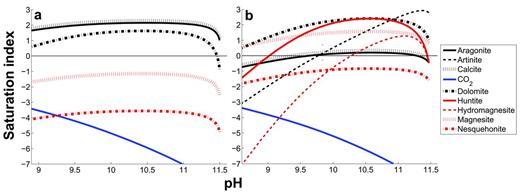 The saturation state of selected carbonate minerals as a function of pH (addition of CO2) with respect to the water from (a) Spring #1 at Sampling site OM01, and (b) Spring #2 at Sampling site OM06. Secondary minerals were not allowed to precipitate in the model. The reaction progress is from right to left in the figures. Before the addition of CO2, the pH was 11.6 and temperature was 30.6°C for Spring #1, and 11.5 and 20.3°C for Spring #2. The logarithm of the initial partial pressure of CO2 was −9.3 bar for Spring #1 water and −8.3 bar in Spring #2. The logarithm of the final CO2 pressure after the solution reached equilibrium with the Earth's atmosphere was −3.4 bar or 395 ppm CO2.