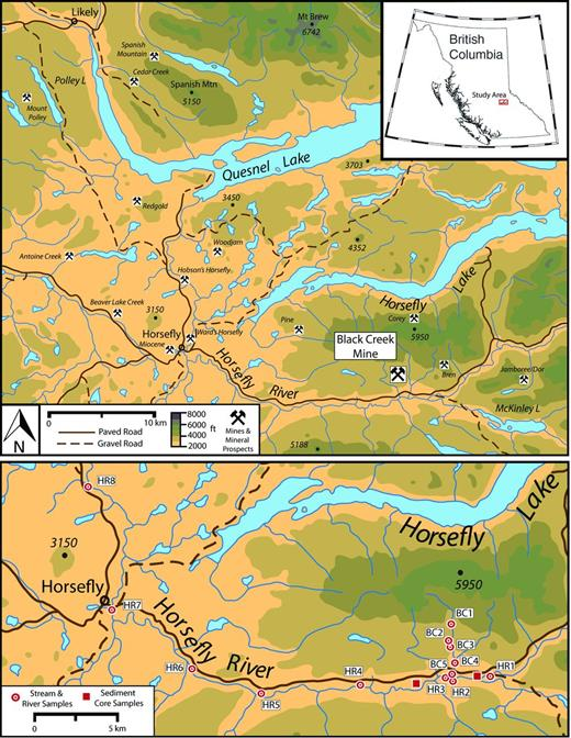 Study area of Horsefly River watershed in British Columbia, Canada (Bailey, 1990; BC Geological Survey, 2014; map modified from Surveys and Mapping Branch, 1976) (above) and sample locations (below).