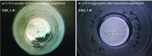 Aggregates formed during dissolution experiments (CSH_1.4 experiment). Left: CSH_1.4i, right: CSH_1.4f.