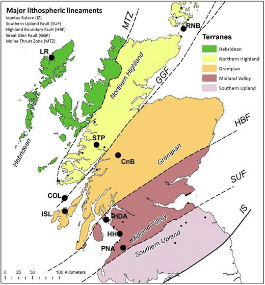 Terrane map of Scotland, highlighting major mantle xenolith localities. The three suites north and northwest of the Great Glen Fault (GGF) are included in this study; Loch Roag (LR), Streap Com'laidh (STP) and Rinibar (RNB). These span two terranes – the Hebridean Terrane and Northern Highland terrane – both of which are thought to be underlain by (re-worked) NAC basement. Other xenolith localities labelled are: Colonsay (COL), Islay (ISL), Coire na Ba (CnB), Heads of Ayr (HDA), Hillhouse (HH) and Patna (PNA).