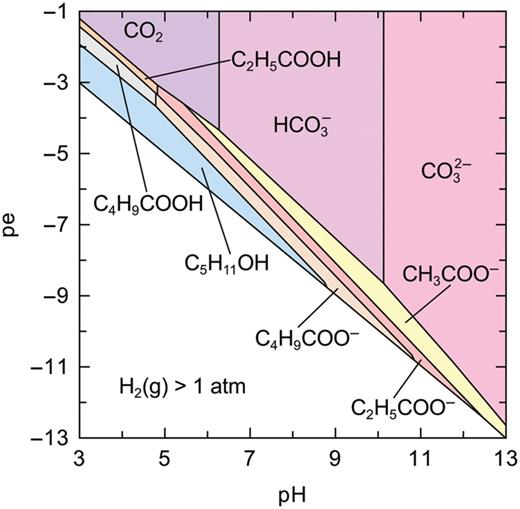 Predominance diagram of aqueous species for partial thermodynamic equilibrium in the C–H–O system. It is assumed that no alkanes are formed.