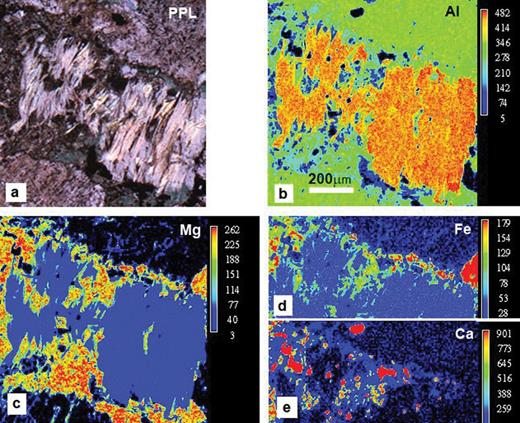 Photomicrographs and X-ray maps for Eskdale granite 15224; all images are on the same scale: (a) Plane polarised light (ppl) image of phengite-chlorite pseudomorph after bitotite. (b–f) False colour X-ray maps: (b) Al – note that the scale bar is 200 μm; (c) Mg; (d) Fe; (e) Ca. Note that panels (d) and (e) match the top halves of the other panels. See text for further details.