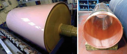 Electroformed copper chill roll during manufacture (left) and copper shell produced by electroforming (right), with typical dimensions of 1 m diameter, 2.5 m long and 16 mm wall thickness.