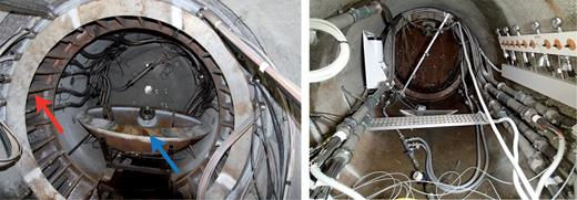 Left: Installation of the plug, the collar is installed (red arrow) while the cap (blue arrow) is on the floor prepared to be lifted and welded in position. Right: the outside of the test section with the plug in position and all the cabling connected.