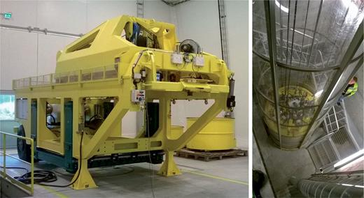 Left image: the buffer installation machine in the test hall during the lifting test. Testing is done with a concrete block. Right image: the vertical deposition hole, a concrete test block is being lowered to the bottom.