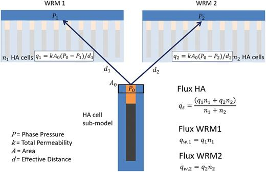 Schematic diagram of the method for connecting sub-models into the main model grid. Two identically sized volumes (WRM1 and WRM2) within the whole repository grid have nx HA cells connected to them in the plans. The diagram illustrates how Darcy fluxes between the sub-model and the whole repository model are calculated and scaled between the plug-end of the sub-model and the access tunnel.