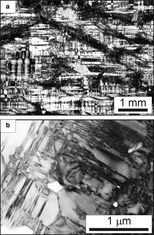 Keystone. (a) Low-magnification light micrograph (crossed polarizers) showing microperthitic albite veins (at or near extinction) predominantly parallel to {110} with short sections in (100). The microcline matrix shows Albite and Pericline tartan twins with a large range of scales and marked spindle shapes (compare with Fig. 1). (b) Bright-field TEM image of microcline showing variability in the thickness of Albite twins (running from bottom right towards top left) and Pericline twins (mostly at the left), down to the scale of a few nm. Subgrains defined by {110} and (010), with micropores at their edges (white), are visible in the lower centre. The right-hand part of the image is 'irregular microcline' as defined by Bambauer et al. (1989).
