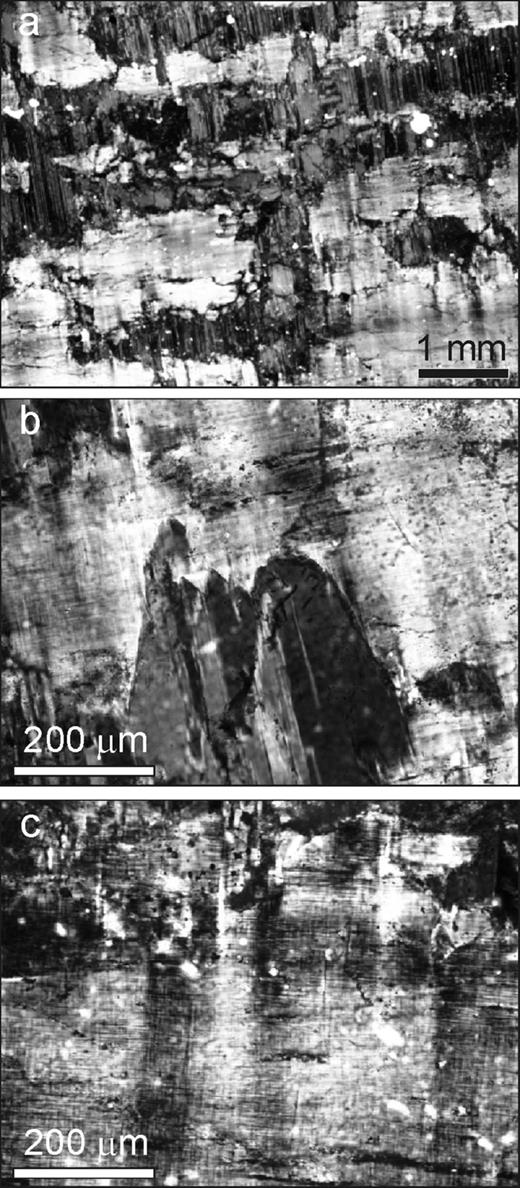 Light micrographs of Wards sample 46 E 0510 of perthite from Perth, Ontario. Crossed polarizers, section parallel to (001). (a) Low magnification image showing irregular films of Albite-twinned albite (dark grey), predominantly parallel to b, in tartan microcline (lighter grey). In the centre of the micrograph the films can be seen to be composed of discrete, slightly mis-aligned subgrains. (b) Detail of serrated edge of Albite twinned albite lamella and fine-scale tartan twinning in microcline. At this scale there is no obvious coupling between Albite twins in the two phases. (c) Microcline with very fine-scale, regular tartan twins with superimposed broad fluctuations in the Albite twin orientation.