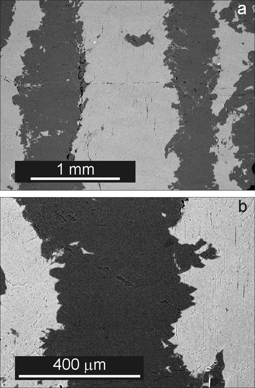Perth. BSE images in the SEM of a polished (001) section. All subsequent SEM images are similarly orientated. (a) Complex, macroperthitic albite lamellae (dark grey) in a micro- and crypto-perthitic microcline matrix (light grey). Thin vertical lenses in the microcline in the centre are microperthitic albite lamellae, parallel to b. (b) Detail of a single macroperthitic albite lamella. Note the complex surfaces strongly reminiscent of the fractal Mandelbrot set. Microperthitic lamellae, parallel to b, are just visible in the matrix microcline, particularly at the right.