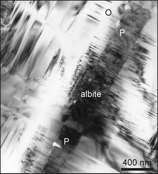 Perth. Bright-field TEM image viewed parallel to the normal to (001). All subsequent TEM images are of this type and orientation. The field is mostly microcline, twinned below the scale of a light microscope on the Albite (top left to bottom right) and Pericline (top right to bottom left) laws. Note the large range of twin periodicities. A single Albite-twinned albite lamella is labelled, tapering towards the bottom of the micrograph. In places the albite has been replaced in a fluid (below the word 'albite') and the regular Albite twinning has been partly lost. Pores (P) have developed at the interface, and at the top outgrowths with the {001} pericline habit have formed (O).
