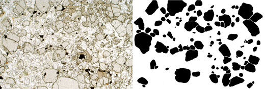 Left: photomicrograph (plane-polarized light) of sample SC459 from the Shiant Isles Main Sill, containing loose clusters and chains of olivine phenocrysts set in a matrix of interstitial plagioclase and augite. Note the rare grains of chromite (opaque) that were also part of the crystal load of the incoming magma. Width of image is 4.5mm. Right: same image segmented by hand. We measured the area of each olivine crystal and determined the diameter of the circle with the same area.