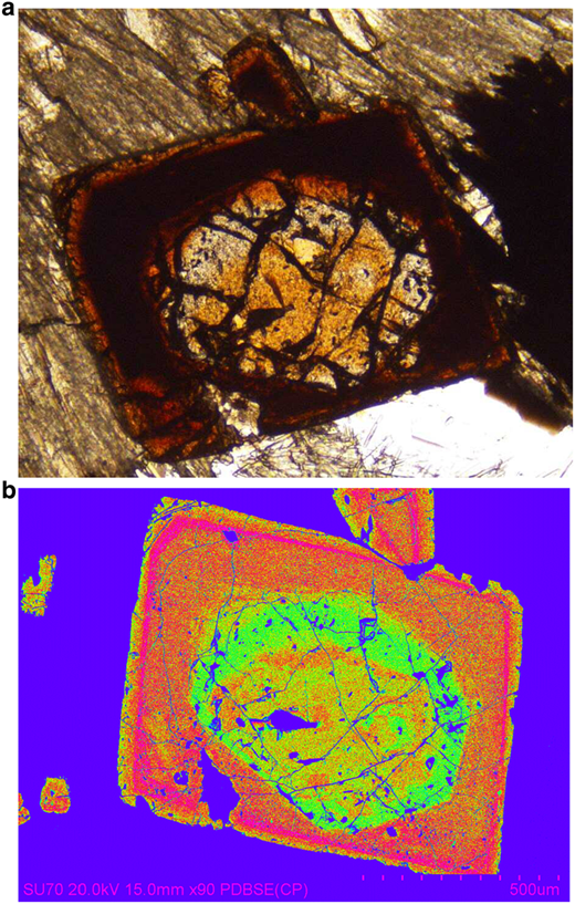Tausonite-strontian loparite from the Little Murun complex, Yakutia, Russia. Tausonite occurs in the core of this strongly-zoned crystal. (a) Plane polarized light optical image; (b) false coloured back-scattered electron image. See Mitchell and Vladykin (1993) for compositional data.