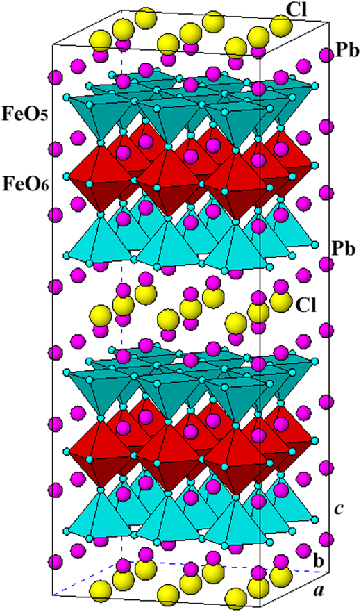 Polyhedral representation of the crystal structure of hematophanite.