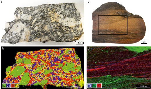 Photographs and corresponding μ-XRF element maps of granite and sandstone specimens, illustrating sample-scale chemical characterization.