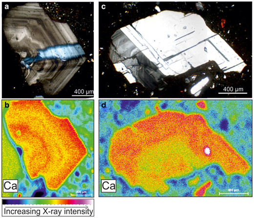 Photomicrographs and μ-XRF element maps of zoned plagioclase phenocrysts. Micro-XRF cannot resolve fine-scale oscillatory zoning (a and b), and over-estimates the size of apatite inclusions (c and d).