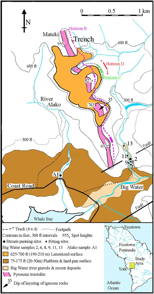 Map of the York area, Freetown Peninsula, Sierra Leone showing the known occurrences of the primary PGE-bearing layers Horizon B, Horizon C and Horizon D, the main lateritized surfaces, and the sampling sites in the Alako and Big Water rivers, either side of Mateki Ridge.