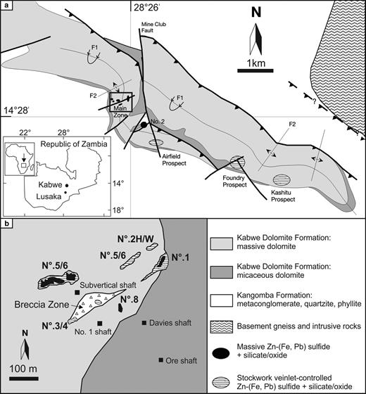 (a) Geological sketch map of the Kabwe area (modified after Hitzman et al., 2003; Kamona and Friedrich, 2007). (b) Morphology and relative positions of orebodies on the 850 ft mine level (~260 m depth from the surface), underlying the surficial Main Zone (black square in (a); modified after Kampunzu et al., 2009).