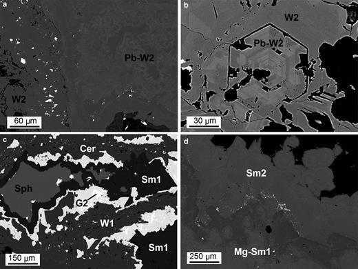 Backscattered electron (BSE) images of replacement textures: (a) MI29629 2/2: concretionary agglomerate of willemite 2 (W2), with alternating Pb-poor and Pb-rich layers; (b) OR5309: hexagonal prismatic crystal of willemite 2, characterized by oscillatory chemical zoning; (c) BM1930-372: an original aggregate of sphalerite (Sph) and galena 2 (G2) replaced by carbonates: galena 2 is replaced by cerussite (Cer) and sphalerite is replaced by smithsonite; and (d) OR5307: smithsonite, locally bearing Mg, forming botryoidal crust (Sm2) and replacing dolomite crystals of the host rock (Sm1).