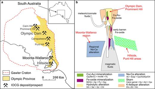 (a) Sketch map of the Gawler Craton, South Australia, showing the location of the Olympic Cu-Au province, the Olympic Dam deposit, the Hillside deposit, and other deposits/prospects mentioned in the text. (b) Sketch, after Barton and Johnson (1996), showing proposed crustal settings of selected South Australian IOCG deposits.
