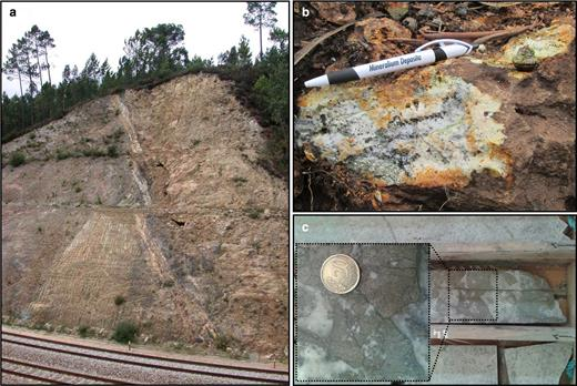 Field images: (a) 'Railway Fault', along the contact between the late-D3 biotite granite (on the right) and the Silurian metasediments (on the left); (b) outcrop with boxworks and preserved sulfides; and (c) drill core with sulfides.