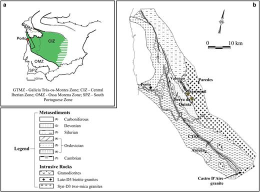 (a) Simplified tectonostratigraphic terrane of the Iberian Peninsula (modified after Lotze, 1945; Julivert et al., 1974). (b) Simplified geological map of the Valongo anticlinal area with the location of the main Au and/or Au-Sb mineralizations. Carboniferous: (1) continental sediments and coal beds; Devonian: (2) quartzites and greywackes; Silurian: (3) black shales and cherts; Ordovician: (4) quartzites, shales and greywackes, (5) black shales, (6) quartzites; Cambrian: (7) schist and greywack complex. Faults in heavy solid lines; CTSZ: Carboniferous trough shear zone (after Gonçalves et al., 2001).