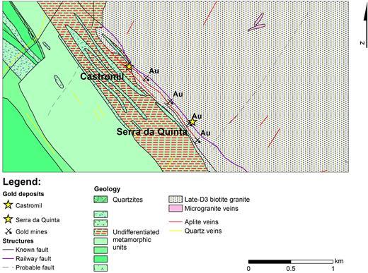 Geological map and location of the study area (after: Folha 9D – Penafiel; Carta Geológica de Portugal na escala de 1:50.000, 1981).