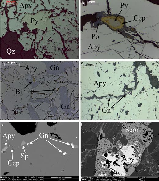Photomicrographs of ore minerals in fresh and oxidized samples: (a, b, c, d) reflected light and (e, f) SEM (Py – pyrite; Apy – arsenopyrite; Qz – quartz; Ccp – chalcopyrite; Po – pyrrhotite; Gn – galena; Bi – bismuthinite; Sp – sphalerite, Scor – scorodite).