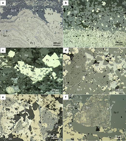 Photomicrographs depicting textural features and ore minerals identified related to early stage ore-forming processes and subsequent replacement. (a) Remnants of partly recrystallized early-generation pyrite (Py I) colloform overgrowths filled by spahlerite (Sp I) and galena (Gn I) involved with later-generation sphalerite (Sp II) and pyrite (Py II). (b) Low-temperature, banded, zinc-rich ores intergrown with siderite-rich layers (Sid) indicating direct exhalation onto the seafloor. (c) Pyrite- and sphalerite-rich sulfide clasts within a siderite-rich groundmass as a result of re-depositional processes. (d) Replacement of early generation sphalerite (Sp I) by a late generation sphalerite (Sp II) in the zinc-rich ores which is often annealed and intergrown with galena. (e,f) Replacement of sphalerite (Sp) and pyrite (Py) crystals by chalcopyrite (Cpy) and tetrahedrite (Td).