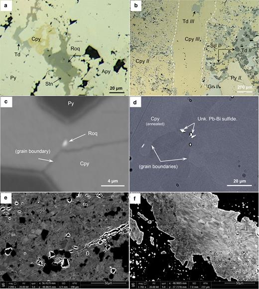 Photomicrographs and high-resolution SEM images depicting textural features and ore minerals identified related to replacement and late, tectonometamorphic deformation. (a) Roquesite (Roq) intergrown with stannite (Stn). (b) Late, post-metallogenetic and tectonometamorphism-related generation chalcopyrite (Cpy III) and tetrahedrite (Td III) veinlet cross-cutting a metallogenesis-related chalcopyrite (Cpy II) groundmass that replaces pyrite (Py II), sphalerite (Sp II) and tetrahedrite (Td II) and galena (Gn II). (c,d) Occurrence of indium- and selenium-rich phases along chalcopyrite grain boundaries due to tectonometamorphic overprinting effects. (e) High-resolution back-scattered image depicting recrystallized sphalerite crystals within a massive zinc ore due to late tectonometamorphic deformation. (f) High-resolution back-scattered image depicting recrystallized chalcopyrite crystals due to late tectonometamorphic deformation.