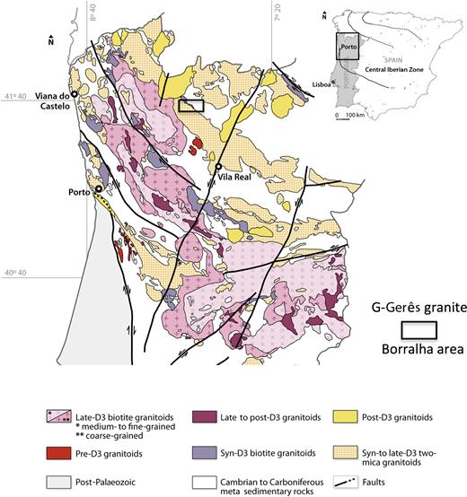 Geological map of the northern part of Portugal showing the location of the W, (Cu,Mo) ore deposit of Borralha, Gerês Mountains (after Ferreira et al., 1987).