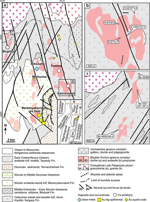 Geological maps of the Birgilda-Tomino ore cluster: (a) the Kalinovskoe deposit, modified after Grabezhev et al. (2000); (b) modified after Chelyabinskgeolsiomka JSC and Puzhakov (1999); (c) The Birgilda deposit, simplified after Narykova et al. (2015). The inset in (a) shows the East-Uralian volcanic terrane highlighted in grey and the yellow star indicates the position of the Birgilda-Tomino ore cluster.