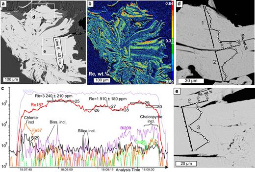 Molybdenite from Birgilda, sample Bir-1101/237: (a) SEM image of a molybdenite 'rosette' showing the position of the LA-ICP-MS profile; (b) calibrated map of the Re content (wt.%); (c) LA-ICP-MS spectra for line 6; (d,e) fragments of (a) with EMPA profiles.