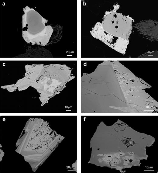 Back-scattered SEM images of CGM from the Penouta leucogranite: (a) typical zoned crystal with a Nb-rich core (dark) and a Ta-rich rim (bright); (b) columbite crystal with an overgrowth of tantalite; (c) columbite-tantalite with patchy zoning (d) Columbite with a rim of tantalite; (e) reverse oscillatory zoning, with a dissolution texture in the innermost Ta-rich phase; (f) columbite with a Ta replacement.