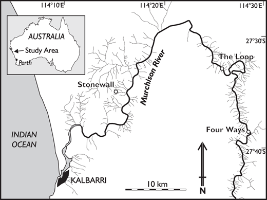 Location map of the lower Murchison River, Western Australia, showing sites at Stonewall, The Loop, and Four Ways.